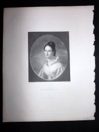 After Ingram 1846 Antique Pretty Lady Print. The Missionary's Wife